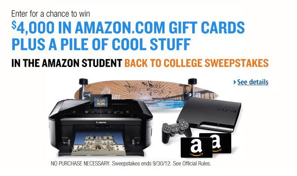 Amazon sweepstakes entry