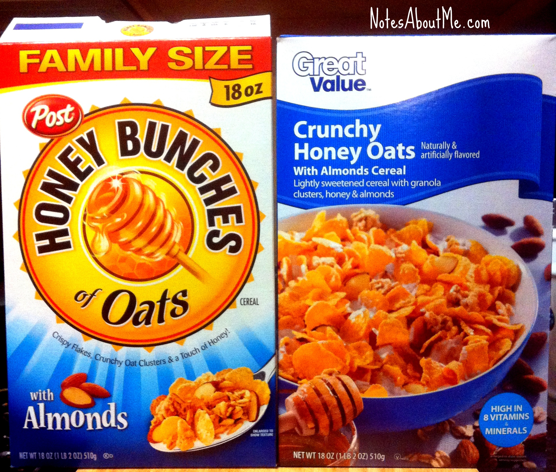 Post Honey Bunches Of Oats V Great Value Crunchy Honey Oats