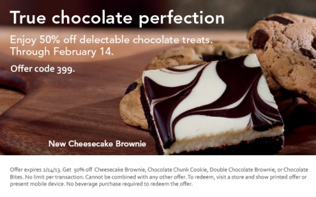 Starbucks 50 off chocolate treat