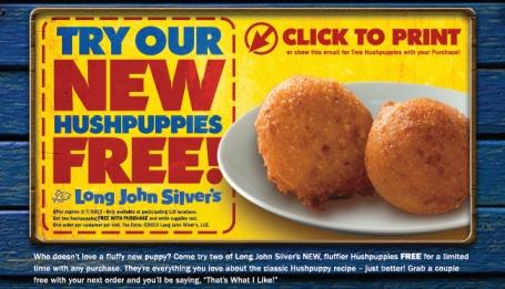 Free Hushpuppies Long John Silver's